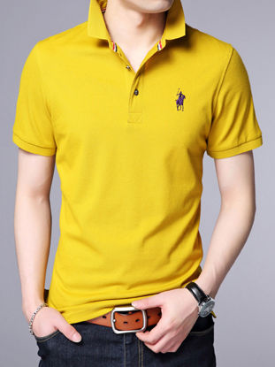 Picture of Men's Polo Shirt Solid Color Short Sleeve Turn Down Collar Slim Fashion Top - Size: 4XL