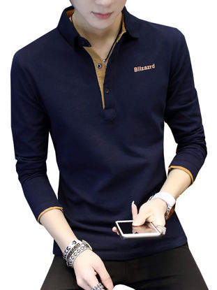 Picture of Men's Plus Size Polo Shirt Fashion Long Sleeve All Match Breathable Top - Size: M