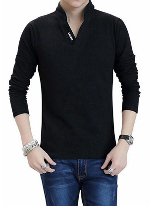 Picture of Men's Polo Shirt Stand Collar Long Sleeve Letter Print Slim Top - Size: XXL
