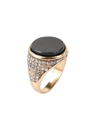 Picture of Men's Ring All Match Round Black Gemtone Decor Chic Ring Accessory - Size: 20