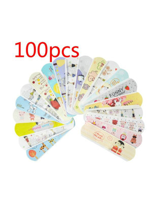 Picture of 100 Pcs Band-Aid Waterproof Breathable Cute Cartoon Pattern Hemostatic Tape