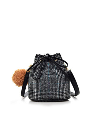 Picture of Women's Shoulder Bag Vintage Plaid Fuzzy Ball Ornament Draw Cord Trendy Bag - Size: One Size
