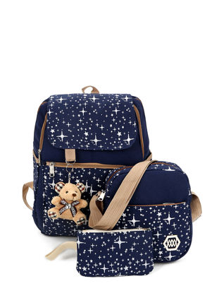 Picture of 3Pcs Women's Backpack Set Print Pattern Casual Stylish Preppy Bags Set - Size: One Size