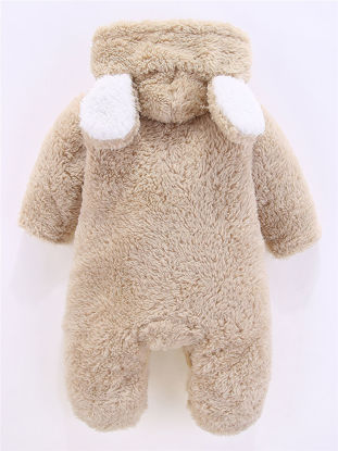 Picture of Baby Baby Jumpsuit Solid Color Single Breasted Hooded Long Sleeve Jumpsuit - Size: 59cm