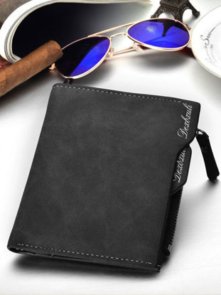 Picture of Men's Wallet Solid Color Retro Style All Match Multifunctional Bag - Size: One Size