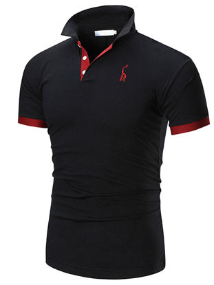 Picture of Men's Sports T-Shirt Turn Down Collar Embroidery Pattern Thin Top - Size: XL