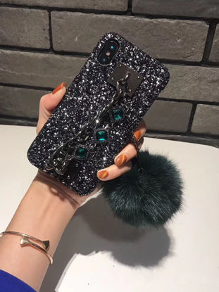 Picture of iPhone Case Plush Ball Decoration Shatter-Resistant Cover - Size: IPhone X