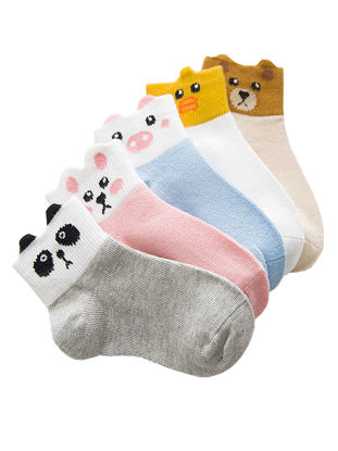 Picture of Mixed Color 5 Pairs Cute Ankle Socks Comfy Breathable Boat Socks - Size: S