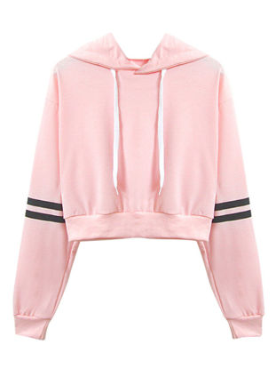 Picture of Women's Hoodie Long Sleeve Solid Color Striped Print Cropped Hoodie
