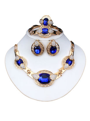 Picture of 5Pcs Women's Whole Set Rhinestones Inlay Imitation Crystals Design Vintage Accessory Set - Size: One Size