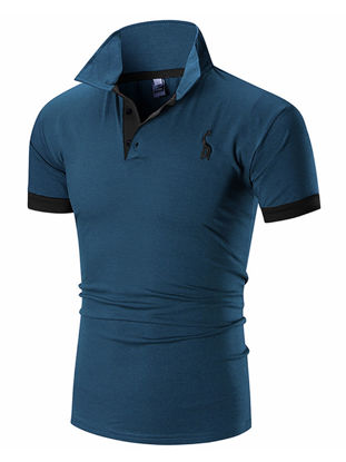 Picture of Men's Polo Shirt Business Turn Down Collar Plus Size Gentle Comfy All Match Breathable Top - Size: M