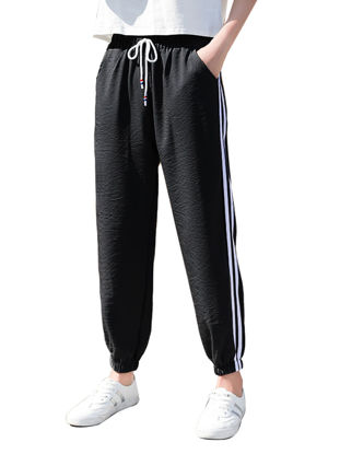 Picture of Women's Casual Pants Striped Breathable Simple Bottoms - Size: 3XL