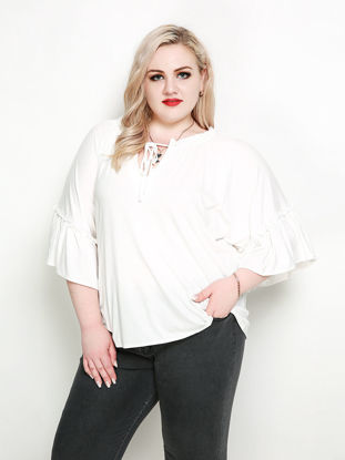 Picture of Women's Plus Size T Shirt O Neck Flare Sleeve Lace Up Solid Color Top - Size: 6XL