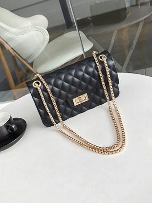 Picture of Women's Crossbosy Bag Sewing Thread Spin Lock Elegant Chain Bag - Size: One Size