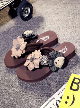 Picture of Women's Home Slippers Artificial Flower Cartoon Bear Decorating Cute Style Flip-Flops - Size: 42