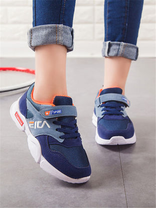 Picture of Kid's Sneakers Mesh Cloth Patchwork Color Block Breathable Comfortable Outdoor Fashion Sports Shoes - Size: 34