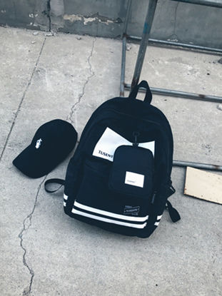 Picture of Men's 2 Pcs Backpack Set Color Block Letter Printed All Match Casual Bags Set - Size: One Size