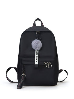 Picture of Women's Backpack Groovy Preppy Style Plush Ball Design Leisure Back Bag - Size: One Size