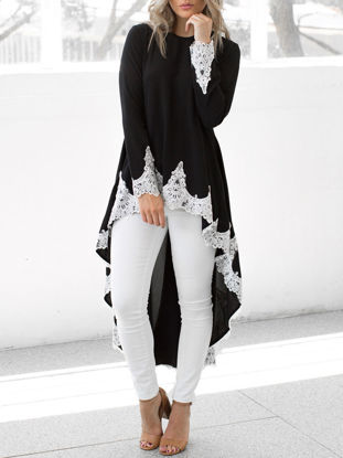Picture of Women's T Shirt Lace Patchwork High Low Long Sleeve Top