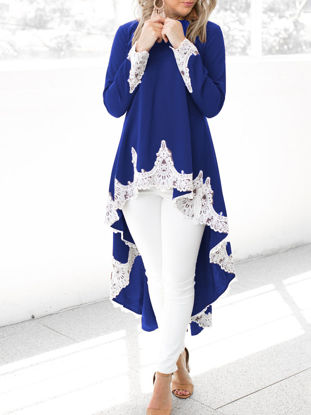 Picture of Women's T Shirt Lace Patchwork High Low Long Sleeve Top - Size: L