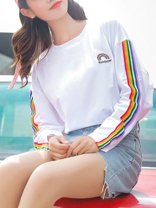 Picture of Women's T Shirt Long Sleeve O Neck Striped Pattern Loose Top - Size: S