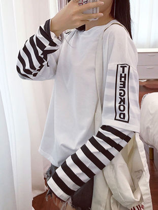 Picture of Women's T Shirt Letter Pattern Striped Color Block Hollow Shoulder Loose Top - Size: XL