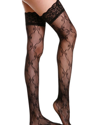 Picture of One Pair Women's Fancy Stockings Lace Hollow Out Sexy Lingerie Over Knee Length Fancy Stockings - Size: Free