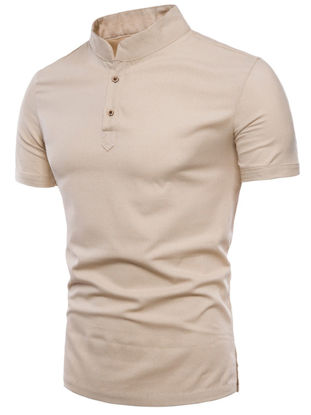 Picture of Men's Polo Shirt Stand Collar Short Sleeve Solid Color Top - Size: XL