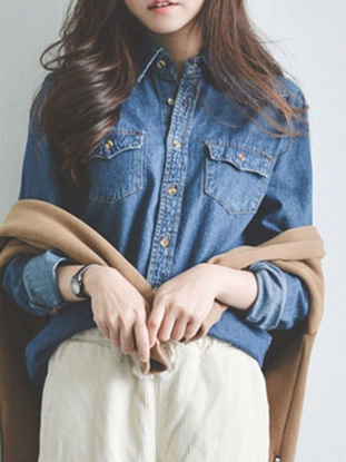 Picture of Women's Shirt Long Sleeve Turn Down Collar Solid Color Denim Top - Size: S