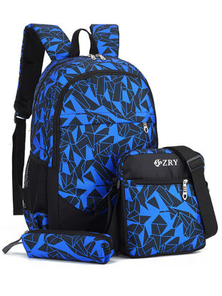 Picture of 3Pcs Boy'sSchoolBags Color Blocks Anti-Stress Backpack Set - Size: One Size