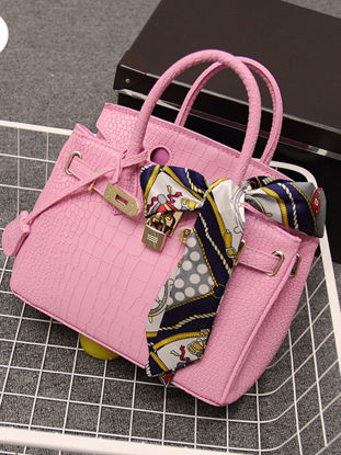 Picture of Women's Handbag Embossed Ladylike Solid Color Synthetic Silk Scarf Decor Bag - Size: L