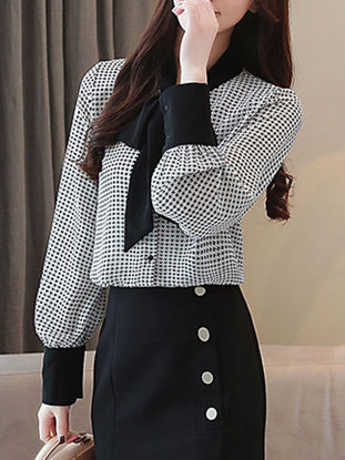 Picture of Women's Shirt Houndstooth Bow Long Sleeve Top