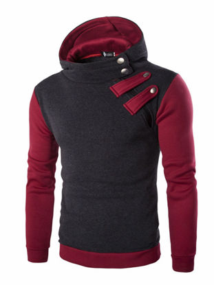 Picture of Men's Hoodie Fashion Casual Patchwork Hoodie - Size: XL
