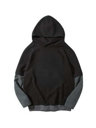 Picture of Men's Hoodie One Piece Layer Look Patchwork Long Sleeve Hoodie - Size: M