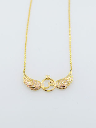 Picture of Women's Fashion Necklace Chic Stylish Zircon Wing Design Necklace - Size: One Size
