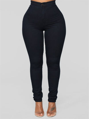Picture of Women's Skinny Pants Button Solid Color Casual Trousers - Size: XXL