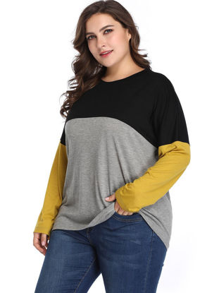Picture of Women's Plus Size T Shirt O Neck Long Sleeve Color Block Top - Size: 4XL