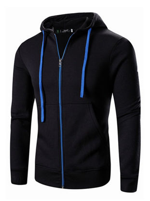 Picture of Men's Sports Hoodie Zipper Opening Pockets Elastic Breathable Hoodie - Size: 3XL