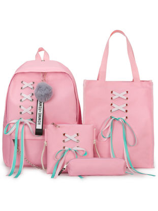 Picture of 4Pcs Students Backpack Set Simple Design Fashion Style School Leisure Bags - Size: One Size
