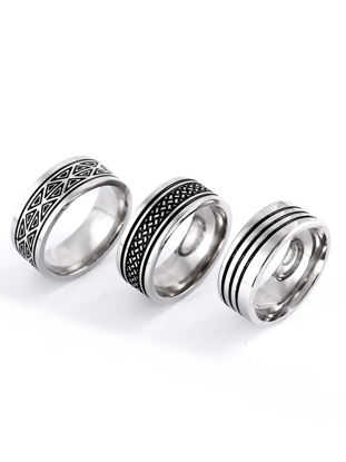 Picture of 3pcs Men's Ring Fashion Retro Style Simple Design Casual Ring - Size: 8