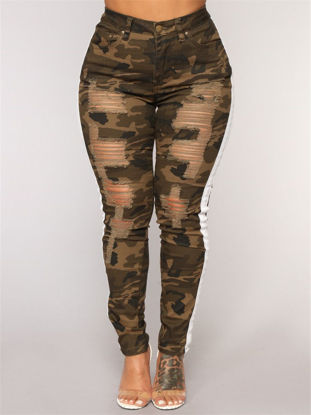 Picture of Women's Leggings Camouflage Frayed Striped Pants - Size: XL