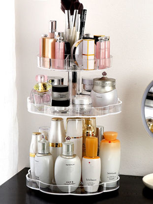 Picture of 1Pc Cosmetic Storage Shelf Transparent Design Durable Makeup Container - Size: One Size