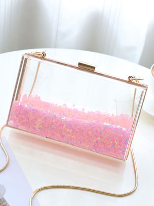 Picture of Women's Crossbody Bag Shiny Transparent Design Casual Style Versatile Bag - Size: One Size