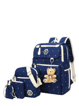Picture of 4Pcs Kid's Backpack Set Fashion Design Cartoon Bear Decorative Bag - Size: One Size