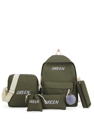 Picture of 5 Pcs Backpack Set Simple Style Letter Pattern Boy'sSchoolBags Set - Size: One Size