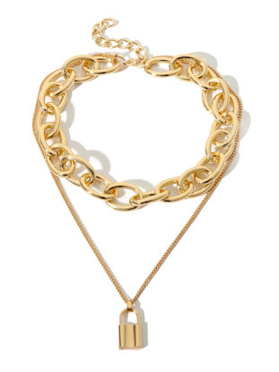 Picture of Women's Multi-Layer Necklace Creative Alloy Lock Shape Pendant Exaggerate Necklet Accessory - Size: One Size