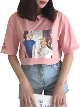 Picture of Women's T Shirt Fashion Solid O Neck Short Sleeve Print Embroidery Casual Top - Size: XXL