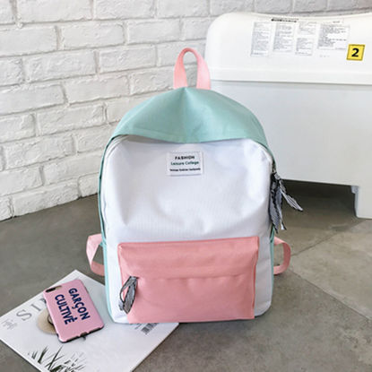 Picture of Women's Backpack Color Block Fresh Preppy Style Large Capacity Travel Bag - Size: One Size