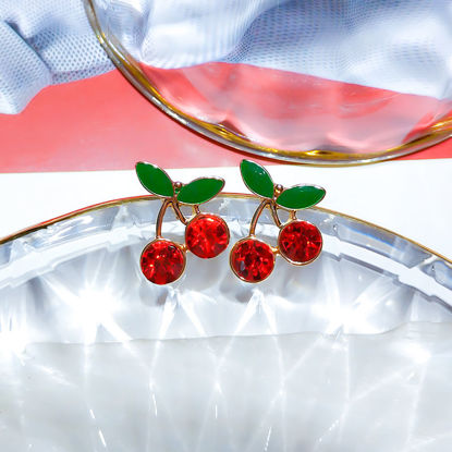 Picture of Women's Studs Cherry Design Ladylike Chic Earrings Accessory - Size: One Size