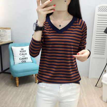 Picture of Women's T-shirt V Neck Long Sleeve Striped Top - Size: M